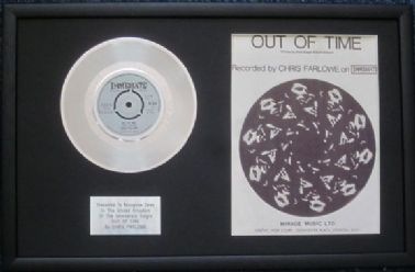 "CHRIS FARLOW- 7"" Platinum Disc & Song Sheet - OUT OF TIME"